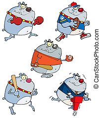 Grey Bulldogs Collection - Grey Bulldog Cartoon Characters
