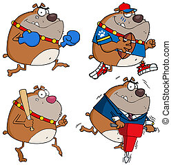 bulldogge, karikatur, Charaktere
