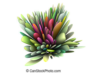 3d render abstract floral pattern in multiple bright colors