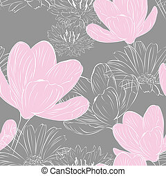 floral seamless background - floral seamless gray background...