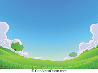 Spring And Summer Landscape - Wide Angle - Illustration of a...