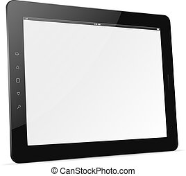 Vector tablet computer. Trendy Ipad theme - Black tablet pc...