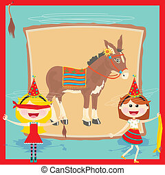 Retro Donkey Party Invitation - . Retro inspired pin the...