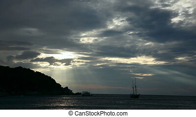 Dramatic sky - Evening in the ocean Similan islands,...