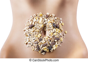 composition of cereals and dried fruits over belly - mixture...