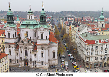 St. Nicholas Church from Old Town Square, Prague, Czech...
