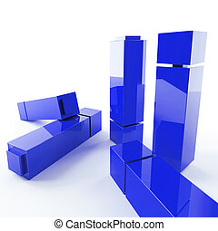 bright metallic abstract blue cubes on a white background