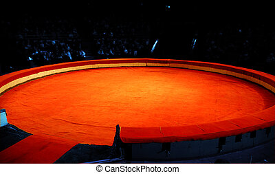 Scene of circus from a red material before presentation