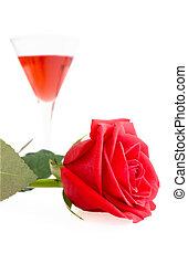 ガラス, バラ, 酒, 優しい, 背景, 白, 赤