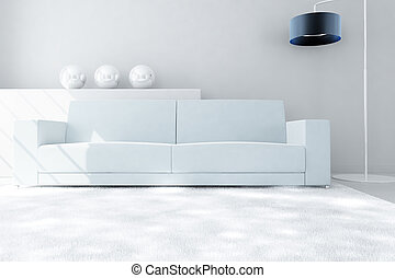 modern white sofa and carpet in a light luxury interior