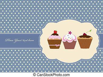 Cup cake vintage frame design