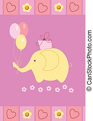Baby shower card with cute elephant,  gift box and colorful balloons. Perfect as invitation or announcement.