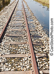 The Flooded Railway Track - The Flooded Straight Railway...