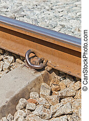 The Rail Fastener - The Close-Up of a Rail Fastener, a Rail...