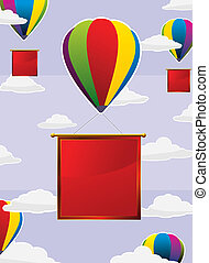colorful balloons with red labels