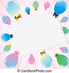 colorful balloons and white card