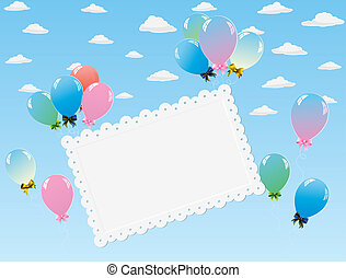 colorful balloons and card