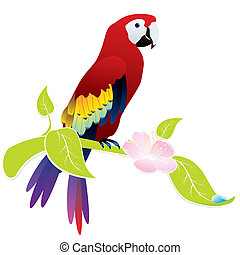 parrot ara - exotic bird parrot Ara sitting on a flowering...