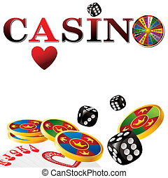 casino sign with fortune wheel, chips, dice and cards on...