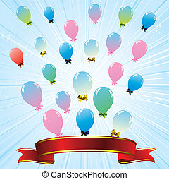 colorful balloons and red ribbon