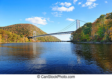 Bear Mountain with Hudson River and bridge in Autumn with...