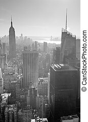 New York City skyline black and white in midtown Manhattan...