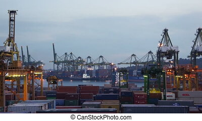 Busy Seaport - Harbor with lots of Cranes and cargo...
