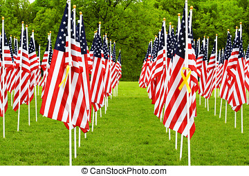 American Flags and Yellow Ribbons