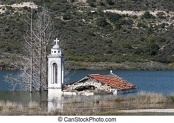 Abandoned flooded church