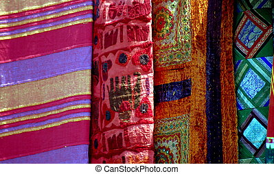 seleção, étnico, tecidos