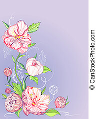 Vector greeting card with peony - Vector blue background...