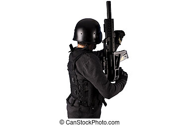 Airport security, Armed policeman shooting, isolated on white