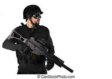 Armed man, isolated on white