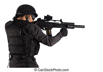 Street Assault, Armed policeman shooting, isolated on white
