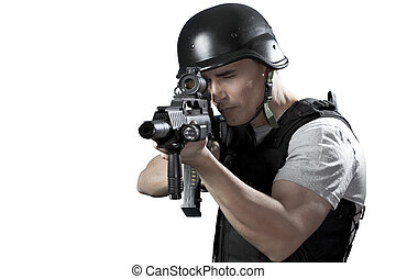 Armed policeman shooting, isolated on white