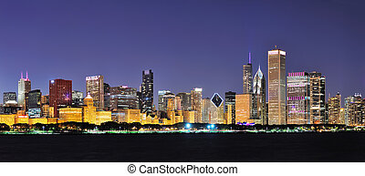 Chicago night panorama