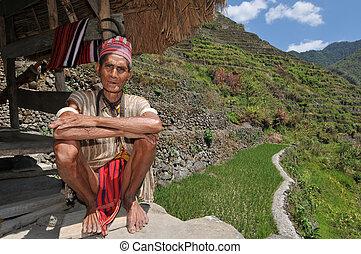 viejo, tribal, hombre