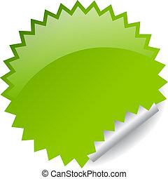 Vector green sticker - Green vector sticker illustration