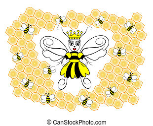 Queen Bee - An illustration of a queen honeybee surrounded...