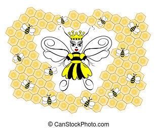 Queen Bee - An illustration of a queen honeybee surrounded...