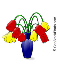 Droopy Tulips - An illustration of a vase of wilting tulips