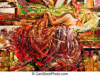 The sleeping girl drawn by oil on a canvas