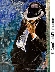 portrait, homme, cigarette