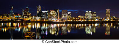 Portland Oregon Downtown Waterfront at Dusk
