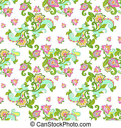 Seamless Floral Pattern - Bright jacobean style floral...