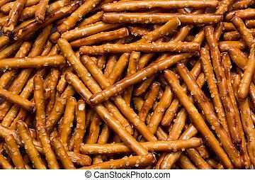Pretzel Sticks - Pile of pretzel sticks.