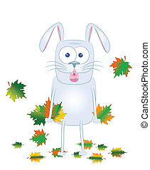 gray rabbit with maple leaves