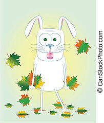 rabbit with maple leaves