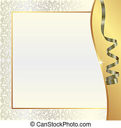 gold pearl background with ornaments and ribbon