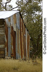 Rusty Corrugated Iron Shack - Shack made up of rusting...